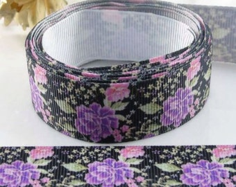 """7/8"""" 22mm Roses-Flower-Grosgrain Ribbon-by yard-Craft Supplies-Scrapbook-HairBow-Floral-Fabric-Cloth"""