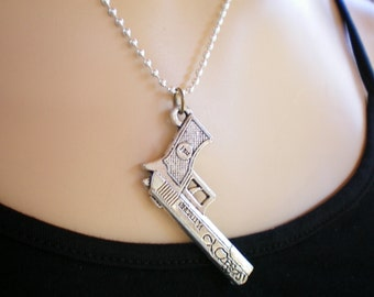 Zombie slaying/TWD gun weapon necklace, Recycled jewelry, Handmade jewelry, Repurposed jewelry, Upcycled, Free USA shipping, Made in Usa/MI