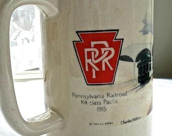 Vintage Mug - Beer Mug - Pennsylvania Railroad Mug - K4 Class Pacific 1915 Train - Train Image On Mug - Otagiri USA Mug - Large Coffee Mug