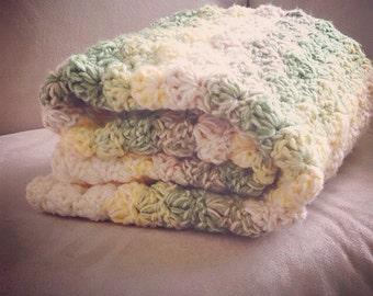 Double thick Greens, Yellows and Creams Shell Crochet Baby Blanket,  lap size.
