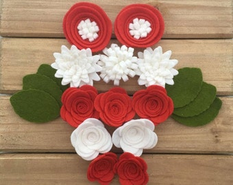 Red  and White Holiday Handmade Wool Felt Flowers