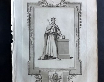 Russell 1779 Antique Portrait Print. Richard I