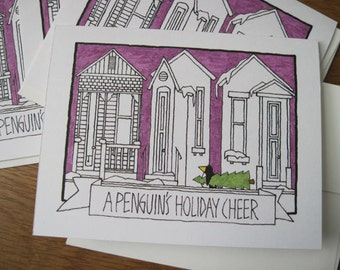 A Penguin's Holiday Cheer -- Holiday Note Cards (#HLDY013)