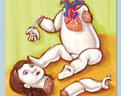 Anatomy Baby Doll -  Archival Print of Original Illustration - Wall art, medical, heart, dissection, toy, creepy, strange