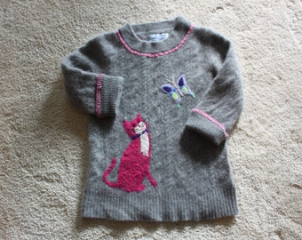 Medium (Size 6-7) Gray Cashmere Cat Butterfly Sweater