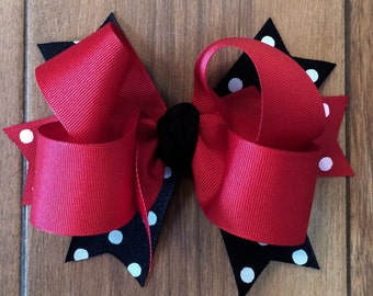Black and Red Girl's Hair bow, toddler Girl, baby hair bows, 6 inch hair bow with French Barrette