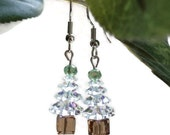 Swarovski Christmas Tree Earrings, Sparkle Earrings, Holiday Earrings, Gift Idea