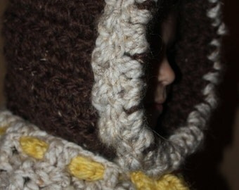 Child's hooded cowl with bow