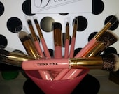 10 PERSONALIZED Laser Engraved Custom Wooden Makeup Brush Set of 10 Blinged Out with Rhinestuds