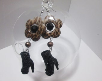 Black   Barbie Shoes earrings with Fancy beads / On Surgical Steel  wire  / ITEM 7-215