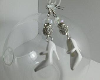 White Barbie Shoe Earrings/ Item 7-105