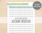 Account Register Printable - Garden Hues