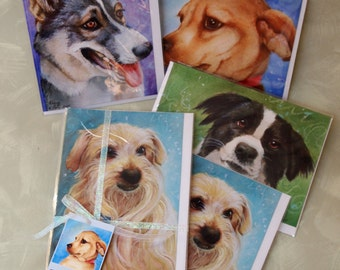 collection of 4 or 8 dog portrait blank greeting cards benefits dog rescue