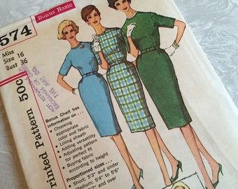 Simplicity Pattern 3574 One Piece Dress In Proportioned Sizes 16 Bust 36 Uncut 1960s