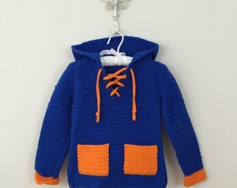 70s Blue and Orange Hand Knit Hooded Lace Up Pullover Sweater, Size 4Tto 5T