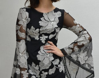 Kupu-Kupu Mini Dress in Black/White
