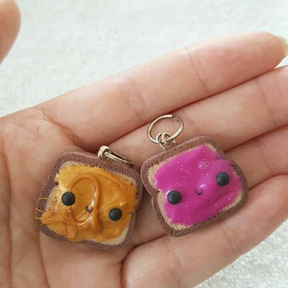 BFF Necklace Charms, Peanut Butter and Jelly, PB and J, Polymer Clay Pendant, BFF, polymer clay, clay pendant, Kawaii, Chibi, Clay Charm