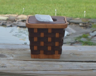 Tissue box holder basket walnut wood