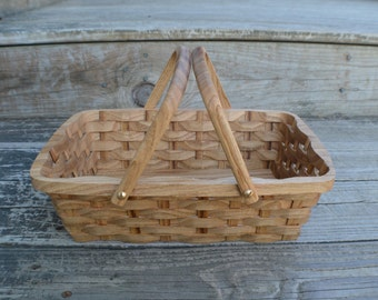 Bread serving basket with handles Japanese chestnut wood