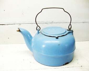 Vintage Cast Iron Kettle - Coffee Pot - Blue Enamel Robins Egg Enamelware French Country