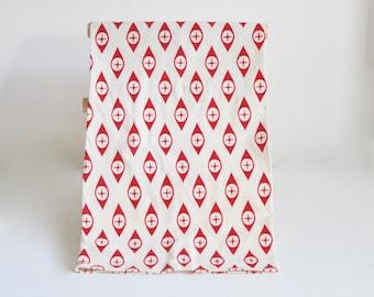 Red Tea Towel / Geometric Repeat Pattern / Natural Cotton / Screen Print