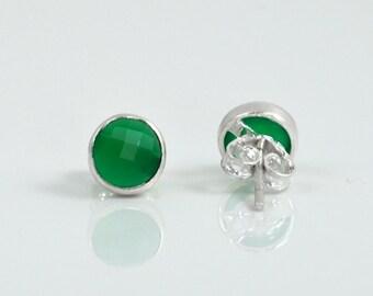 Small Green Onyx Stud Earrings - May Birthstone - Tiny Stud Earrings - Green Onyx Earrings - Onyx Jewelry - Small birthstone stud earrings