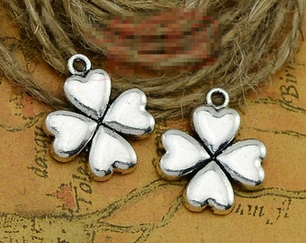 20pcs 18mm x 21mm Four Leaf Clover Charms Antique Tibetan Silver Tone - SC2066