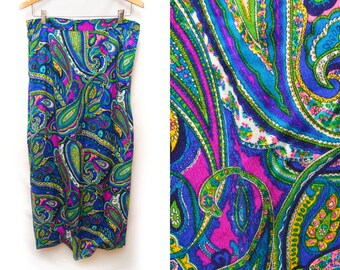 70s Multicolor Paisley Hippie Maxi Skirt Women's 12 Large