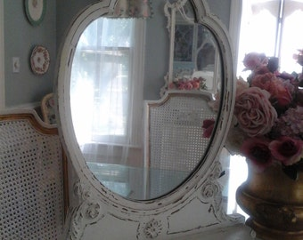 UNIQUE  SHABBY CHIC  carved mirror with Bow