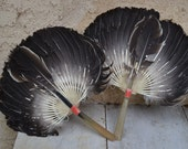 Pair of Vintage Turkey Feather Fans, Bone Handles, Perfect for Halloween Costume, Brown Black White Feathers