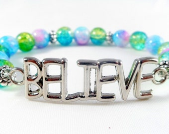 Multi-color Sparkle Glass Beaded Believe Bracelet With Silver Accents ~ Trending Womens Fashion ~ Gifts For Her