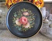 "Vintage Round 14"" Black Tole Tray w/ Pink Blue White Flowers - gold rim"