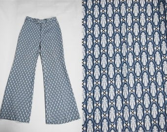Vintage 70s Blue Pattern Bell Bottoms by Bia Exclusive Size 10 28 Rock n Roll Slacks Hippie Woodstock Bellbottoms Flare Psychedelic Costume