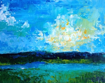 Original Acrylic Painting Abstract Coastal Marsh Landscape on Wood Board in Blue, Teal, Green, White and Yellow - Sunset