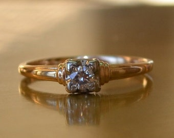 CUPID CHAOS SALE Antique Vintage Diamond Solitaire Engagement Ring // Yellow 14K Gold Diamond Ring // 1/4 ct. Diamond Solitaire