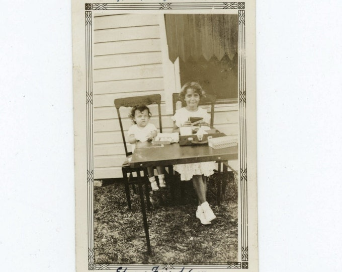 Edna & Friend, 6th. Birthday, Miami, FL 1930s Vintage Snapshot Photo (511435)