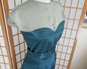 Vintage Wiggle Dress 50s Inspired In Green Satin with Chiffon Illusion Sweetheart Neckline and Banded Nipped Waist Keyhole Back