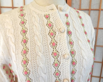 Vintage 60s Cardigan Knit Sweater in Cream with Rows of Crochet Rosettes