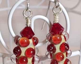 Handmade 'Ruby Tuesday' Lampwork Earrings with Silver Tone French Wires and Swarovski Crystals