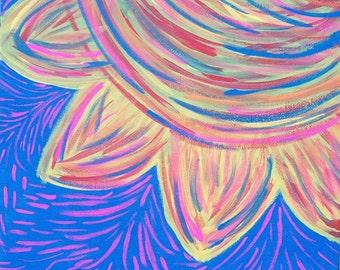 Rainbow Petals, Original Painting, Free Shipping