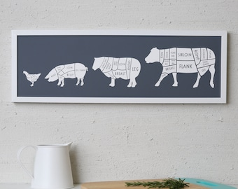 Large Butcher Print - butcher poster - butcher chart - butcher diagram - Long meat cuts print - Gift for Dad - Gift for chef - dad christmas