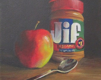Apple with Peanut Butter Still Life Painting 15 x 15 cm. (5.9 x 5.9 in.)