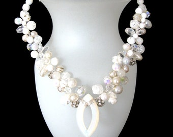 Pearly Pleasures! Lovely shades of vintage white components in a unique Bridal or Summer necklace. FREE SHIPPING to US!