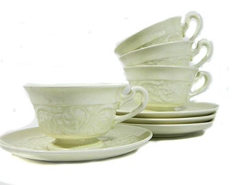 Four Wedgwood Etruria China Cups and Saucers England Patrician Pattern