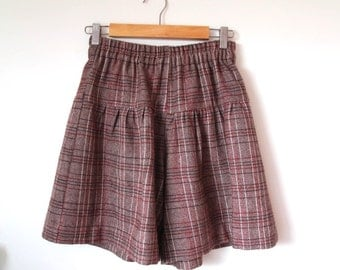 Plaid wool culottes