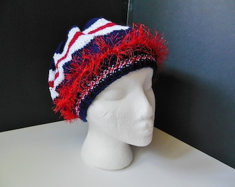 Red White Blue Fun Fur OOAK Hand Knit Faux Beret Slouchy Hat Child Teen