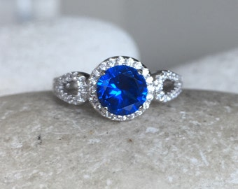 Round Lab Sapphire Engagement Ring- Wedding Bridal Blue Sapphire Ring- September Birthstone Ring- Blue Gemstone Solitaire Ring