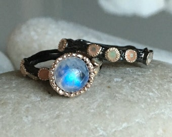 Moonstone Bridal Set Ring with Opal Accent- Tree Branch Statement Black Ring- June October Birthstone Ring- Unique Gemstone Wedding Band