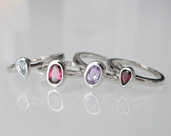 Stackable Ring- Pinky Ring- Midi Ring- Mothers Ring- Birthstone Rings- Amethyst Ring- Garnet Ring- Blue Topaz Ring- Rings for her