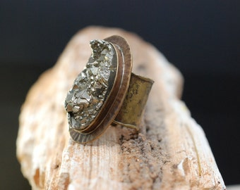 One Of A Kind Boho Fool's Gold Healer's Gold Pyrite Brass Statement Ring - Boho Ring- Bohemian Jewelry